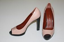 "Marc Jacobs 9 40 Nude Gray Black Patent Leather PeepToe Pump 4.75"" Heel Platform"