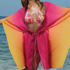 MARKE! Chiffon Strand TUNIKA transparent PINK ORANGE Gr.40/42 L/XL TOP Oberteil