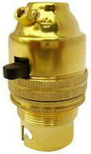 BC B22 Light Bulb Lamp holder 10mm, Earthed in Polished Brass Switched (A38M)