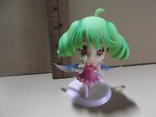 "#A76 Unknown Anime 3.5""in Light Green Hair Big Head Girl w/Wings & Dandilion"
