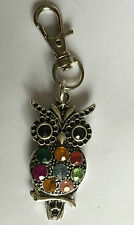 Owl Bag Charm, Key Ring Tibetan Silver  Rhinestone Teacher present in gift bag