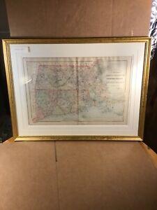 """Massachusetts Connecticut Rhode Island Original 1887 Bradley Map Framed 29 x 21"""""""