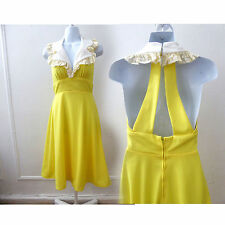 Vintage 70s Dress size S Yellow Halter racerback Disco Bridesmaid Prom 60s
