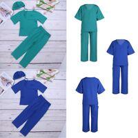 Girls Kids Doctor Nurse Hospital Costume Boys Surgeon Scrub Dress Up Uniform Set