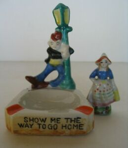 VINTAGE 1940's SHOW ME THE WAY TO GO HOME ASHTRAY JAPAN + DUTCH GIRL OCCUPIED