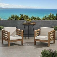 Louise Outdoor Acacia Wood Club Chairs with Cushions (Set of 2)