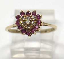10 K YELLOW GOLD RUBY & DIAMOND HEART SHAPED RING SIZE 7 # 47047-16 DBW