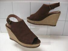 Ladies FATFACE brown suede wedge platform SANDALS MULES UK 7 8 41 high heel