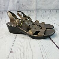 Clarks Bendables Womens Ella Chamber Sandals Sz 8.5M Pewter Leather