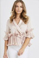 UK New Women Ladies Short Sleeve Satin leated Ruffle Hem Top Blouse