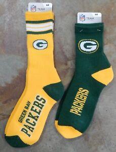 2 Pack NFL Green Bay Packers Socks Gift Set Reverse Deuce 501 Green Yellow Large