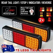2X 75 LED Tail Lights Trailer Brake Stop Indicator 12V UTE Truck 4WD Camper Lamp