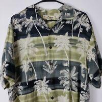 Tommy Bahama Men Silk Shirt M Hawaiian Palm Tree short sleeve button up camp
