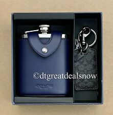 NEW COACH F84682 BOXED FLASK and BOTTLE OPENER KEY FOB GIFT SET IN SIGNATURE