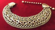 WOW! Vintage Gold Tone Multi 8 Strand Chains Necklace Large Leaf Leaves at Catch