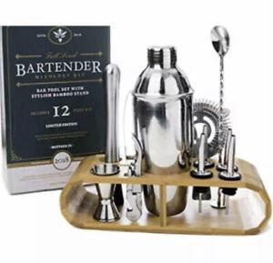 Full Send Professional Bartender Kit Bamboo Stand Mixology 12 Piece Bar Tool Set