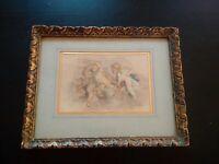 Tableau XVIIIème - XIXème signé putti superbe encre et aquarelle angelots