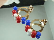 Showy & Cute Vintage Sarah Cov. Red White & Blue Lucite Dangle Earrings  578E
