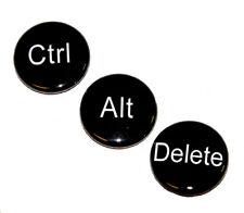 3 CTRL ALT DELETE Buttons Pinbacks Badges 1 inch Geek