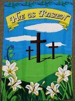 """28""""x40"""" HE IS RISEN GARDEN FLAG CHRISTIAN CROSS BANNER CHURCH JESUS CHRIST F029"""