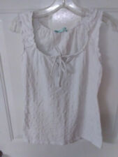 MAURICES Size M Sleeveless White Eyelet Pullover Top Keyhole Tie Front
