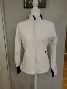 NWOT LANDS END WOMEN'S FULL ZIP FLEECE ACTIVE JACKET SIZE S WHITE THERMA CHECK