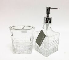 CROSCILL 2 PC 3D CHECKER CUT GLASS CRYSTAL SOAP DISPENSER+TOOTHBRUSH HOLDER