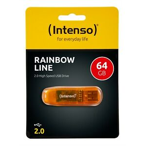 Intenso USB Stick Rainbow Line 64GB 2.0 Speicherstick 64 GB 3502490 orange