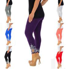 Women Yoga High Waist Cropped 3/4 Length Cotton Capri Legging Pant Trouser Lace