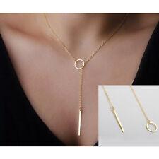 Simple Dorado Círculo Lazo Forma Metal Collar Colgante Lariat Cadena Mujer Nuevo