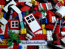 100 Piece Bulk Lego Lot w/Red Window Door Plant Bricks Blocks Plates Parts