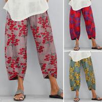 ZANZEA Women Summer Floral Trousers Loose  Baggy Capris Vintage Retro Pants NEW