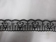 2 yards black double scalloped lace trim 1 1/4'' L7-3