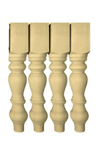 """29"""" Unfinished Farmhouse Table legs or matching 18'' Bench legs, Set of 4"""