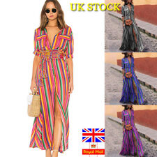 Plus Size Women Summer Striped Maxi Long Dress Holiday Short Sleeve Dress 6-26