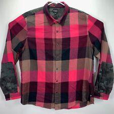 GUESS Pink Mens Size 2xl Check Block Slim Banded Collar Shirt #130
