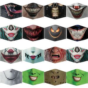 HALLOWEEN FACE MASK COVERING WASHABLE REUSABLE FASHION 2 FILTERS ADJUSTABLE