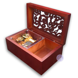 Brown Wooden Sankyo Hollow out Music Boxes With a Jewelry Box (50 Tunes Option)