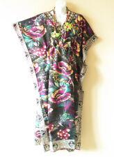 EL10 Kaftan Floral Women Viscose Batwing Dolman Empire Maxi Tunic - XL 1X & 2X