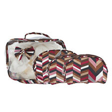 Bow clear Cosmetic Bag Set 4Pc Lux Accessories Multicolor Red Zig Zag Print