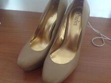 ladies leather beige platform court shoes size  6