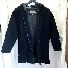 Wilson's Leather Black Suede Leather Hooded Coat Women's Size Small