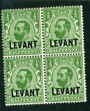 British Levant 1911 Brit currency 1/2d green block of 4 SG L12 MM/UM