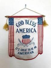 Vintage World War 1 Eagle Patriotic 'God Bless America.' Silk banner