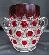 1898 EAPG Pattern Glass Ruby Stained Red Block Spooner