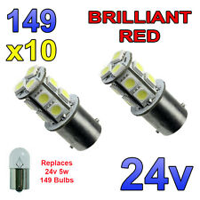10 x Red 24v LED BA15s 149 R5W 13 SMD Number Plate Interior Bulbs HGV Truck