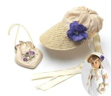 Historical Straw Bonnet & Embroider Purse 18 in  Doll Clothes Fit American Girl