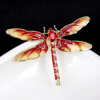 Fashion Rhinestone Crystal Painting Dragonfly Pin Insect Brooch Women Jewelry
