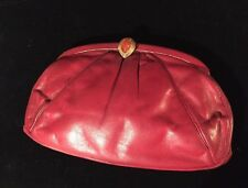 vintage auth JUDITH LIEBER red KID GLOVE leather Evening Bag / CLUTCH $1600 MSRP