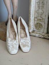 Gorgeous Women'S Old Antique Vintage White Leather Wedding Shoes Satin Bows